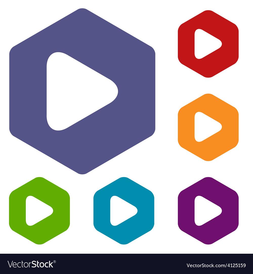 Play rhombus icons vector | Price: 1 Credit (USD $1)
