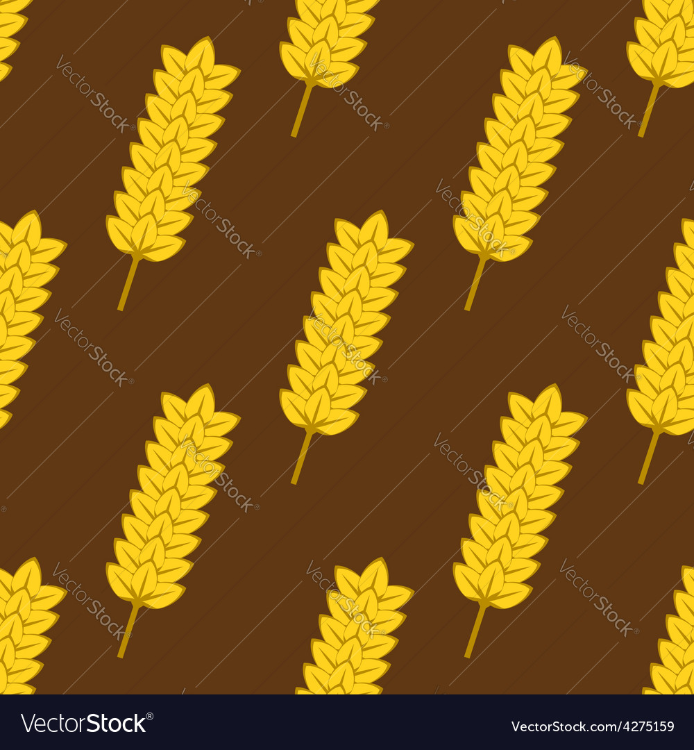 Seamless yellow ripe wheat spikes pattern vector | Price: 1 Credit (USD $1)