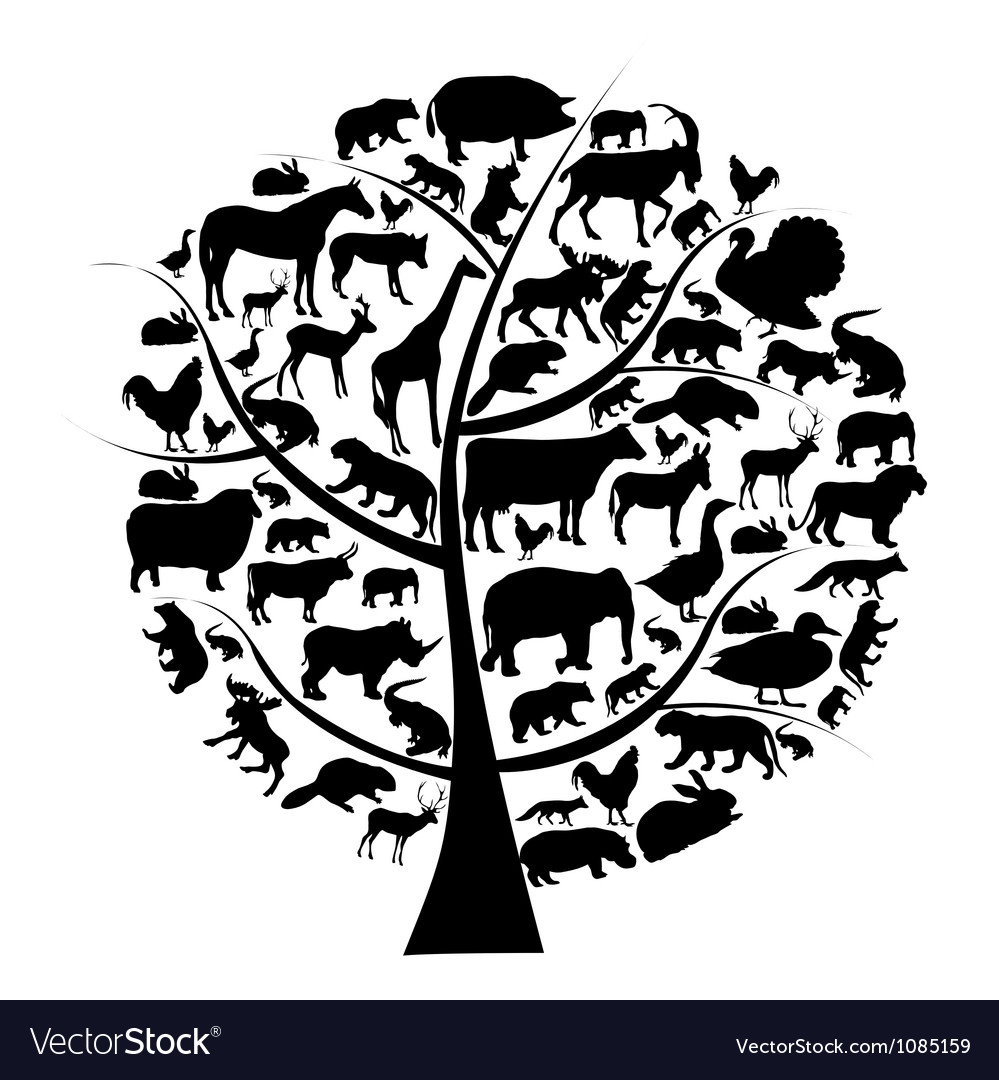 Set of animals silhouette on tree vector | Price: 1 Credit (USD $1)