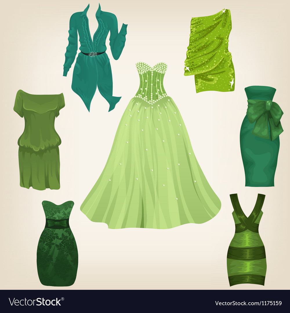 Set of beautiful green dresses vector | Price: 1 Credit (USD $1)