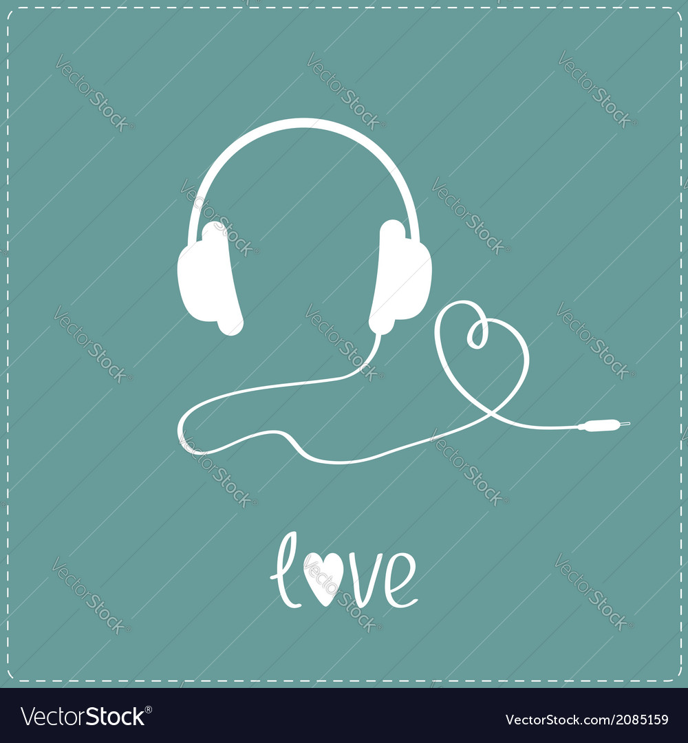 White headphones and cord in shape of heart vector | Price: 1 Credit (USD $1)