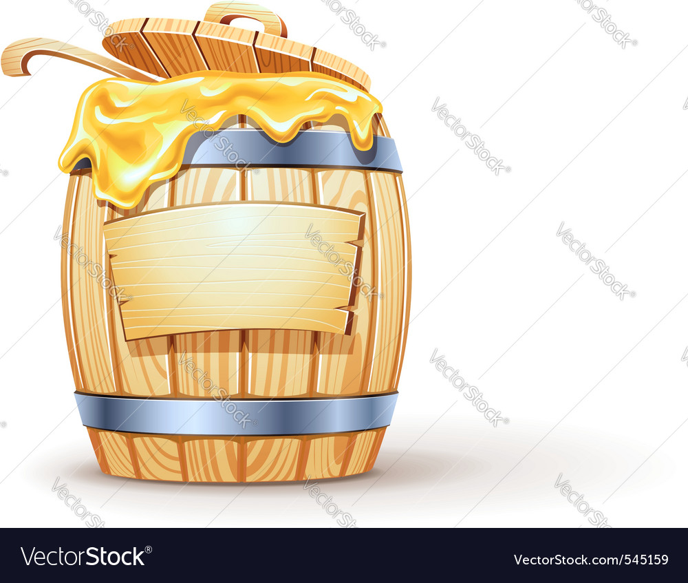 Wooden barrel full of honey vector | Price: 3 Credit (USD $3)