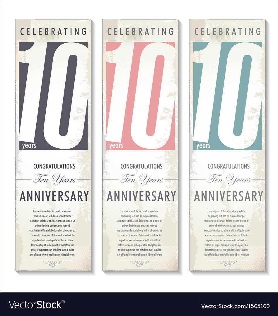 10 years anniversary retro banner set vector | Price: 1 Credit (USD $1)