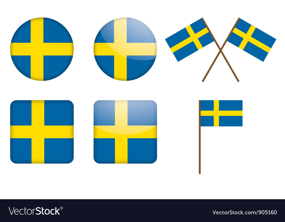 Badges with sweden flag vector | Price: 1 Credit (USD $1)