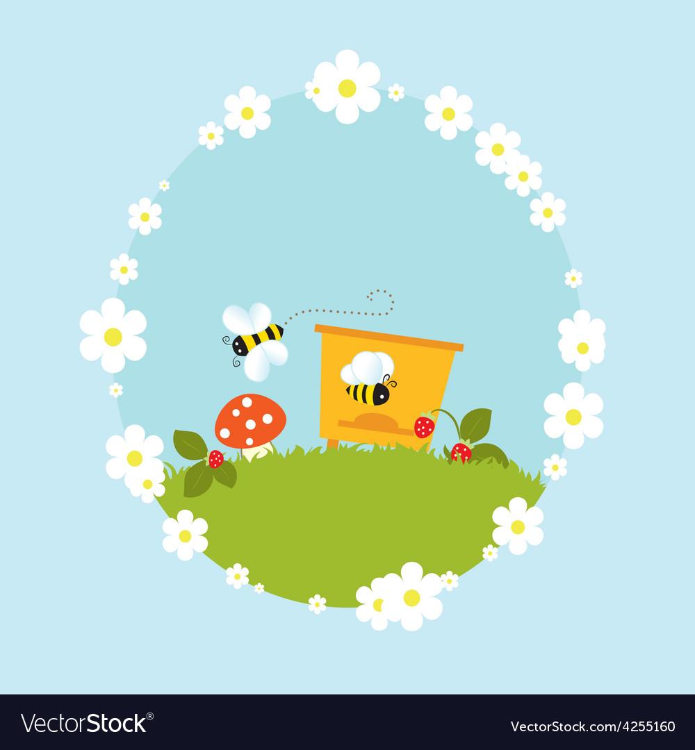 Cartoon beehive honey bees flowers fruits vintage vector | Price: 1 Credit (USD $1)