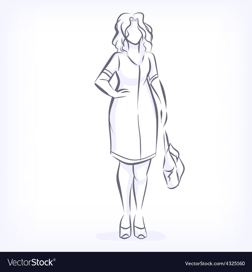 Contour of overweight elegant woman vector | Price: 1 Credit (USD $1)