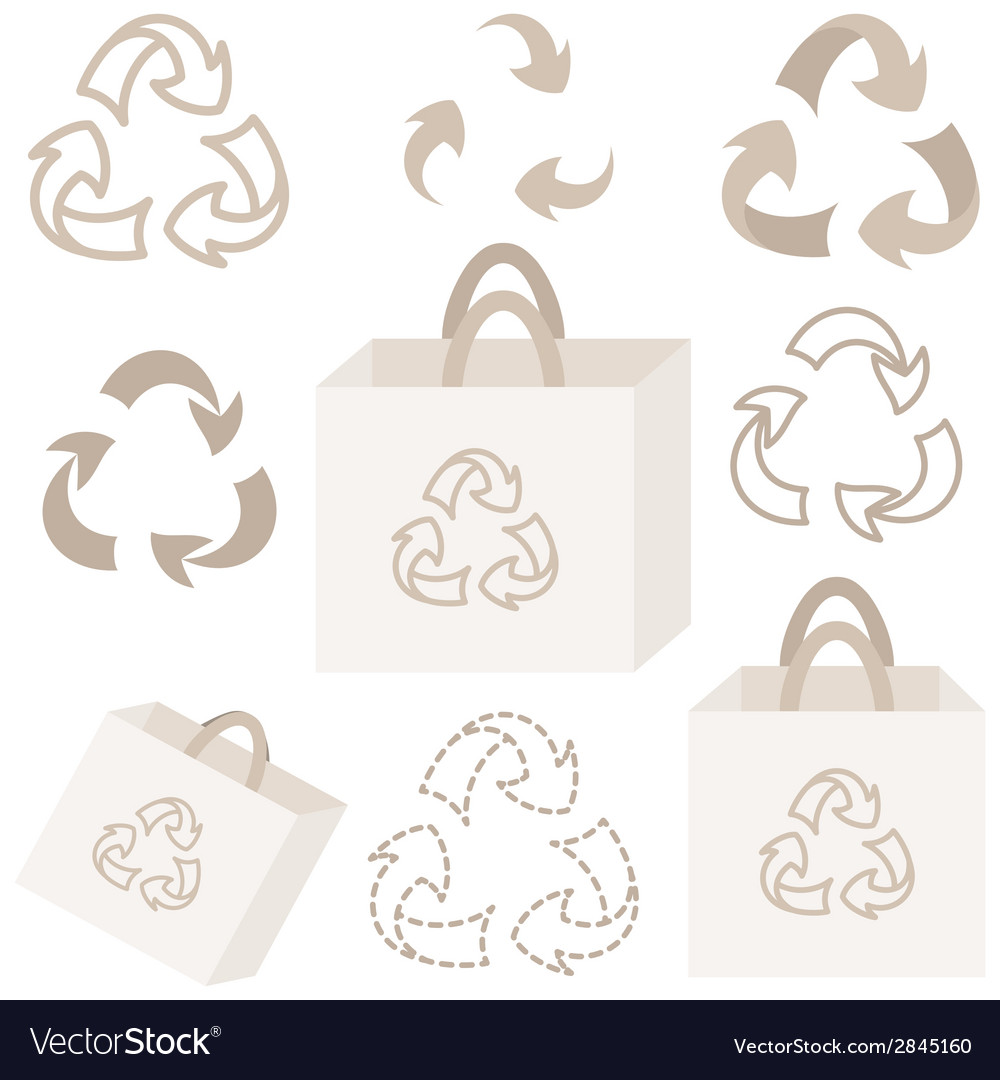 Eco recycle bag and sign collection vector | Price: 1 Credit (USD $1)