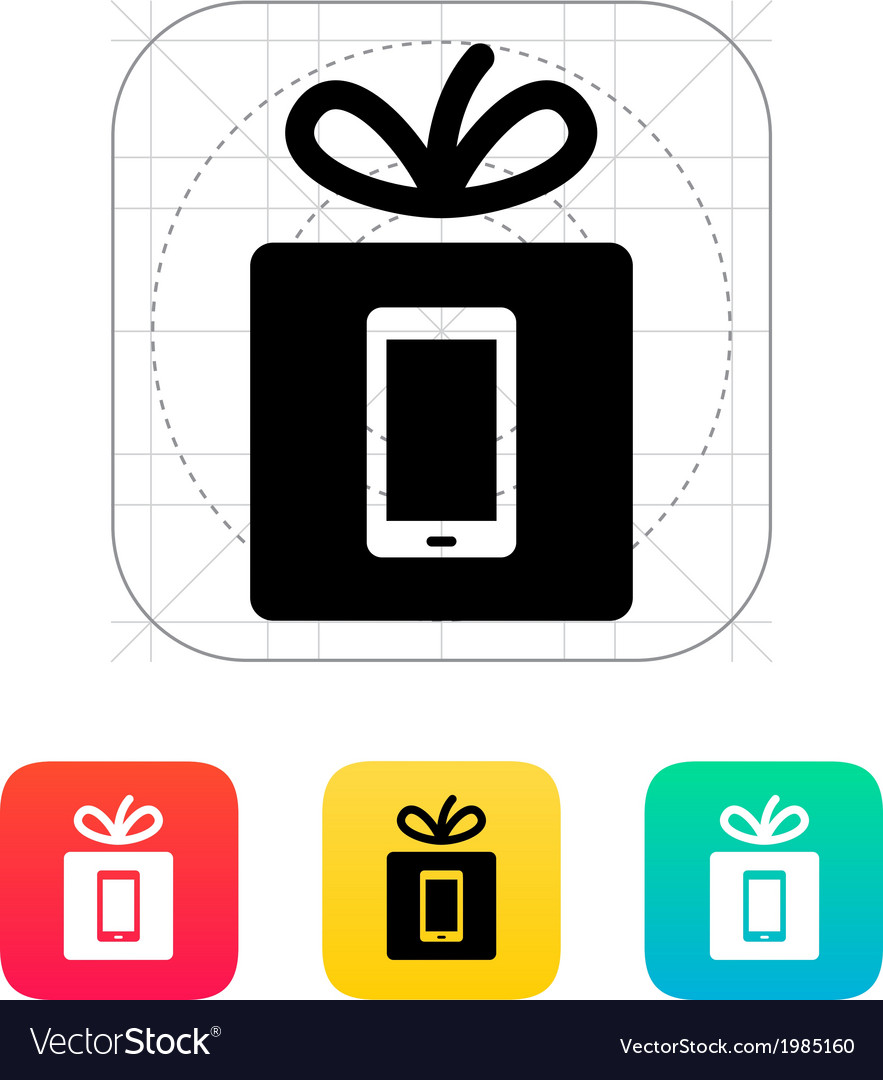 Gift mobile phone icon vector | Price: 1 Credit (USD $1)