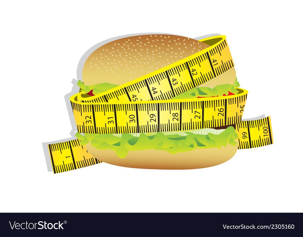 Measuring tape around burger vector   Price: 1 Credit (USD $1)
