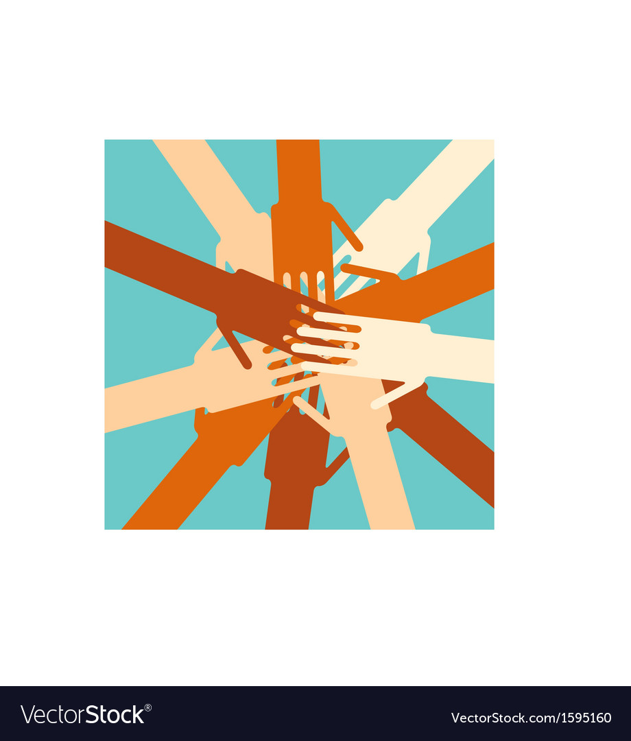 People overlapping hands to show unity vector | Price: 1 Credit (USD $1)