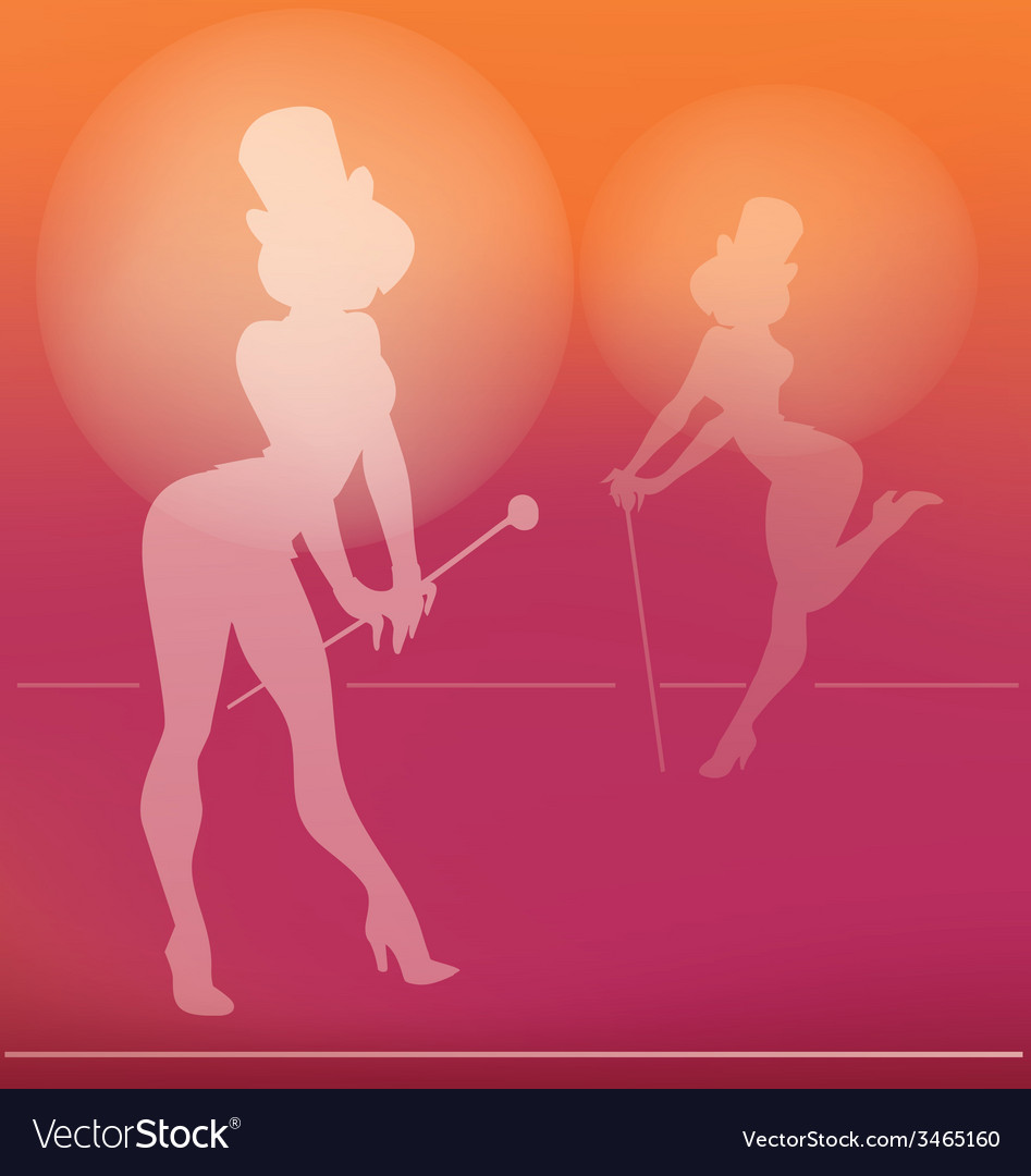 Pin-up silhouette of cabaret girl vector | Price: 1 Credit (USD $1)