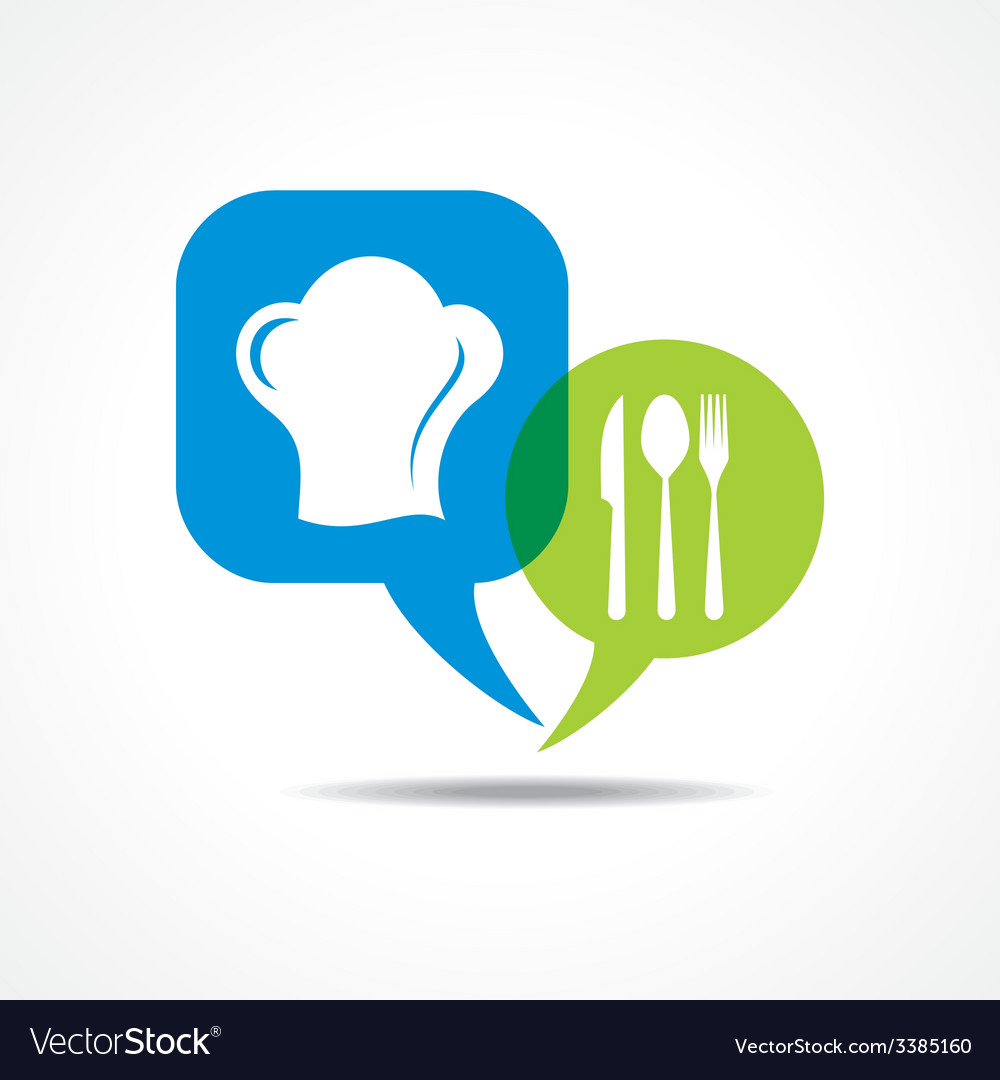 Restaurant forks and chef hat in message bubble vector | Price: 1 Credit (USD $1)