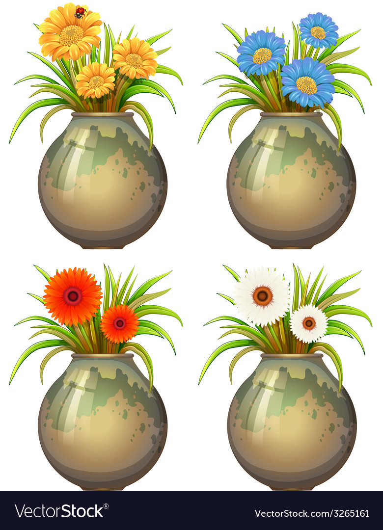 Big pots with flowers vector | Price: 1 Credit (USD $1)