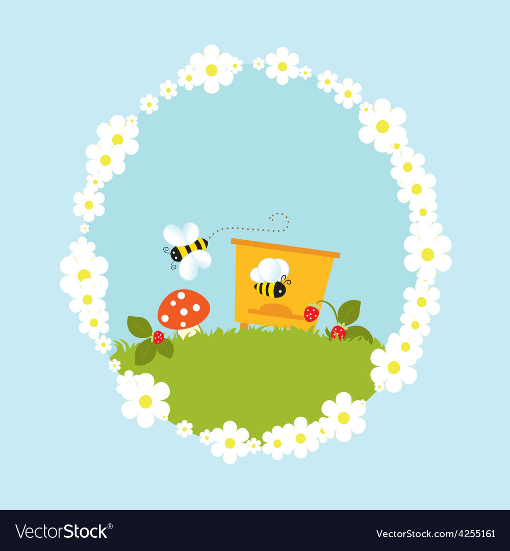Cartoon beehive flowers mushroom strawberry vector | Price: 1 Credit (USD $1)
