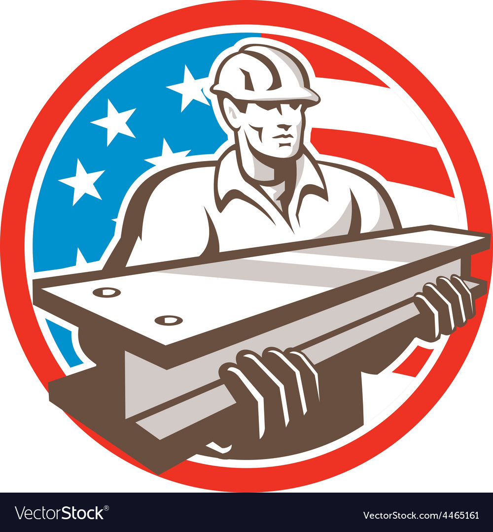Construction steel worker i-beam usa flag circle vector | Price: 1 Credit (USD $1)