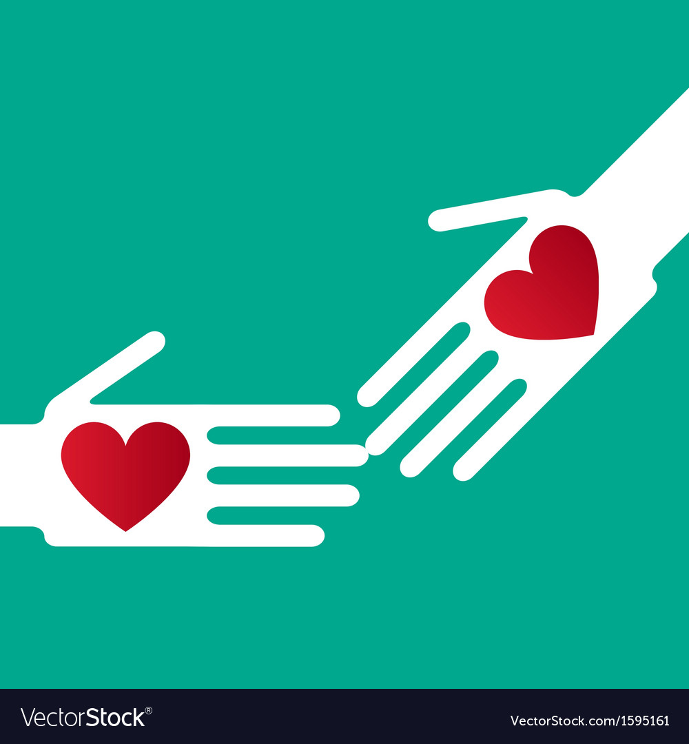Helping hand whit hearts vector | Price: 1 Credit (USD $1)