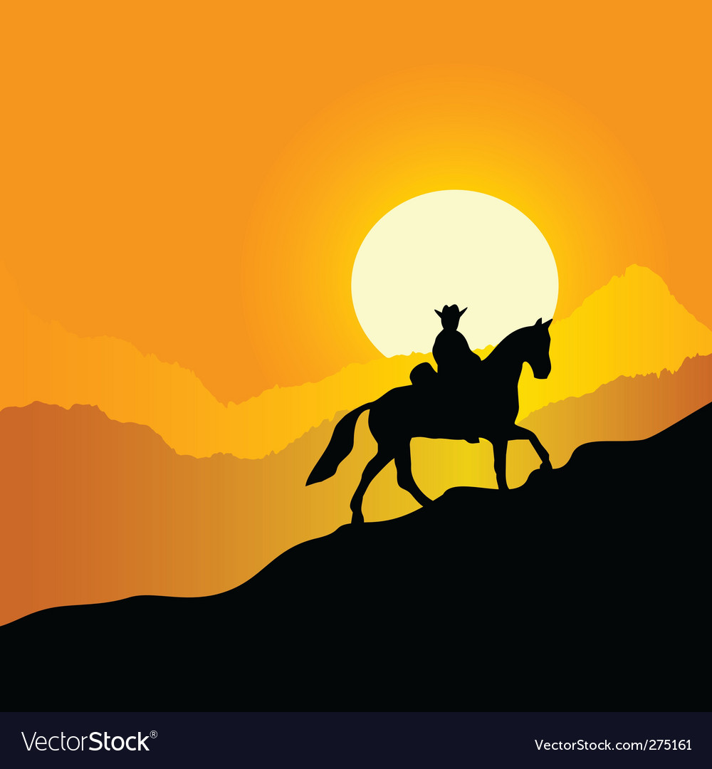 Horseman in mountains vector | Price: 1 Credit (USD $1)