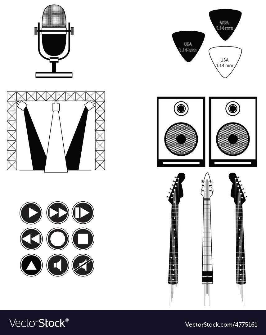 Music players and components vol 2 in blackwhite vector