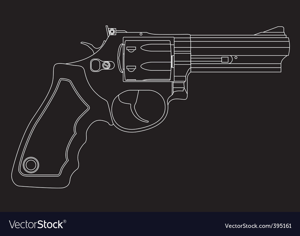 Revolver outline vector | Price: 1 Credit (USD $1)