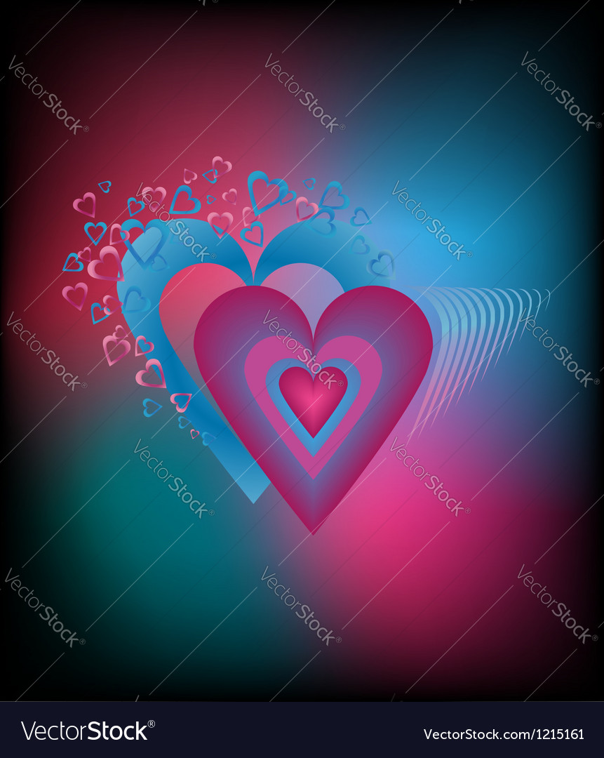 Saturated colorful background with hearts vector | Price: 1 Credit (USD $1)