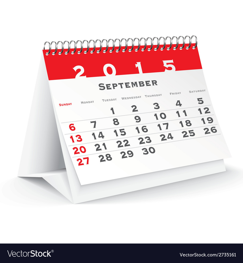 September 2015 desk calendar - vector | Price: 1 Credit (USD $1)