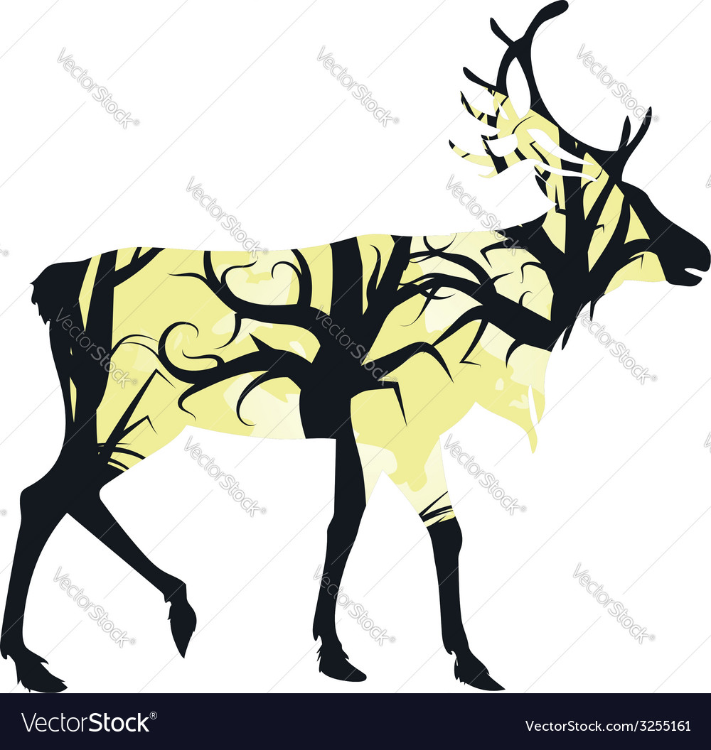 Stag silhouette with forest3 vector | Price: 1 Credit (USD $1)