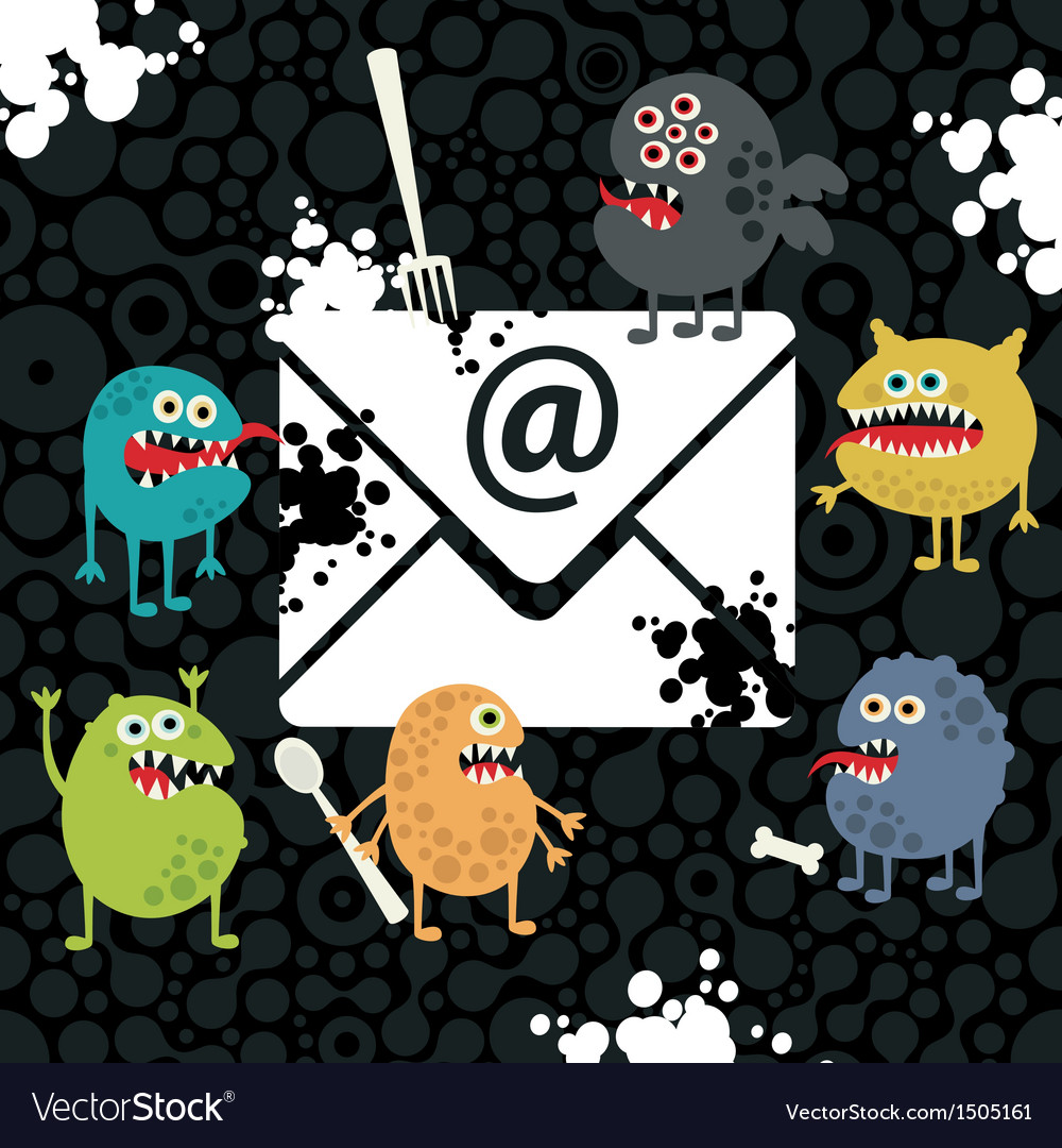 Virus monsters in the email letter vector | Price: 3 Credit (USD $3)