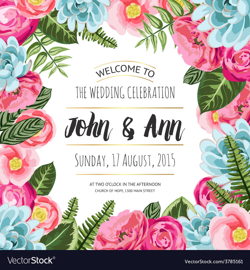 Wedding invitation card with painted flowers vector | Price: 1 Credit (USD $1)