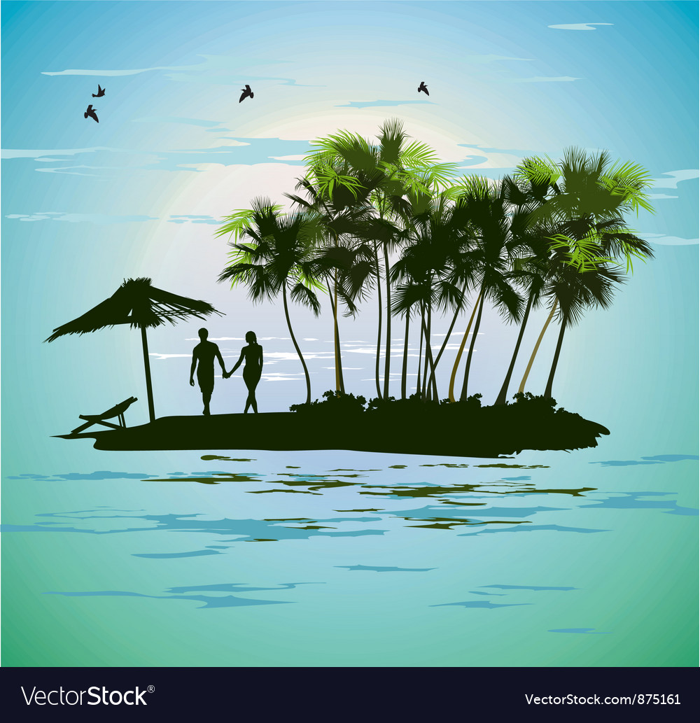 Young couple relaxing on a tropical island vector | Price: 1 Credit (USD $1)