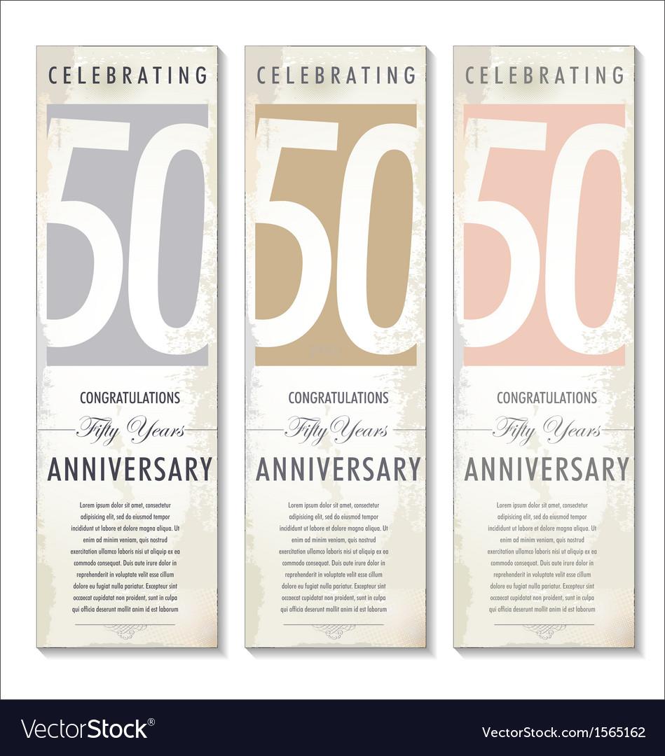 50 years anniversary retro banner set vector | Price: 1 Credit (USD $1)