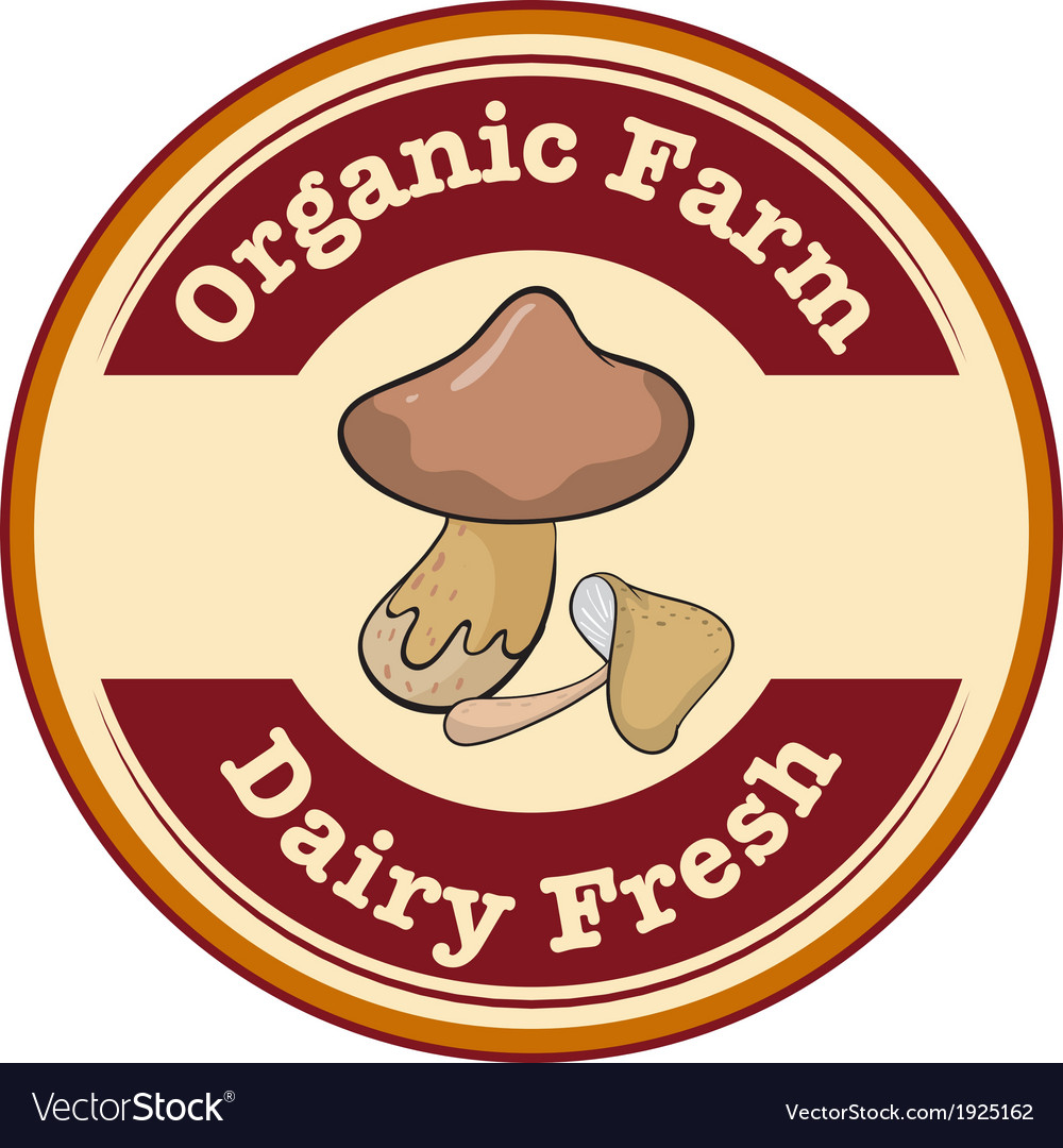 A round organic farm and dairy fresh logo with a vector | Price: 1 Credit (USD $1)
