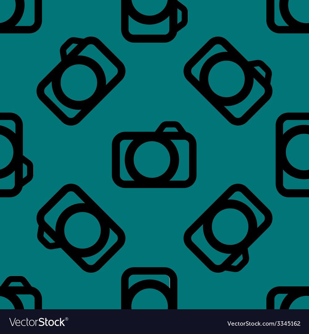 Camera web icon flat design seamless pattern vector | Price: 1 Credit (USD $1)