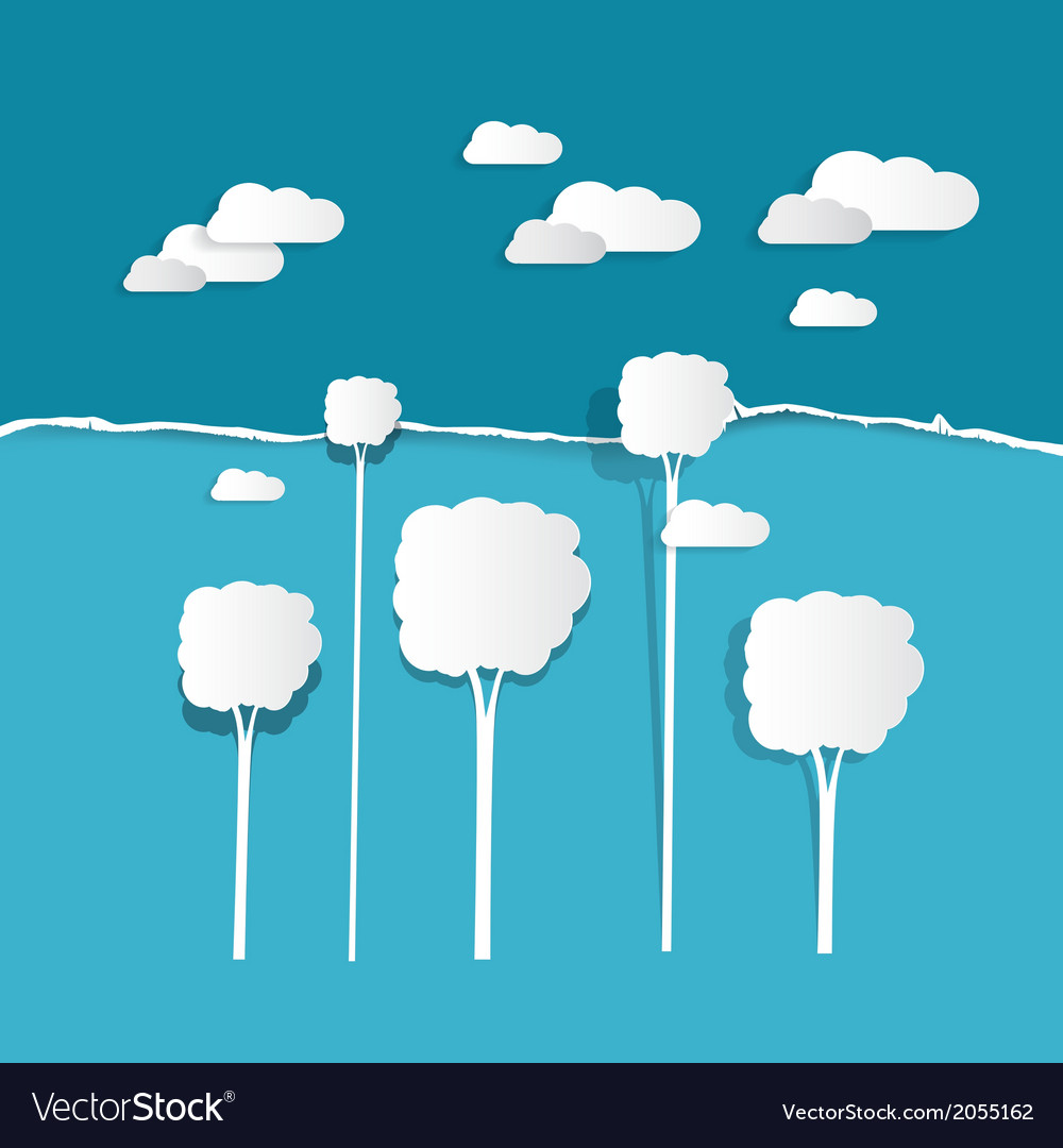Paper clouds and trees on torn paper blue vector | Price: 1 Credit (USD $1)