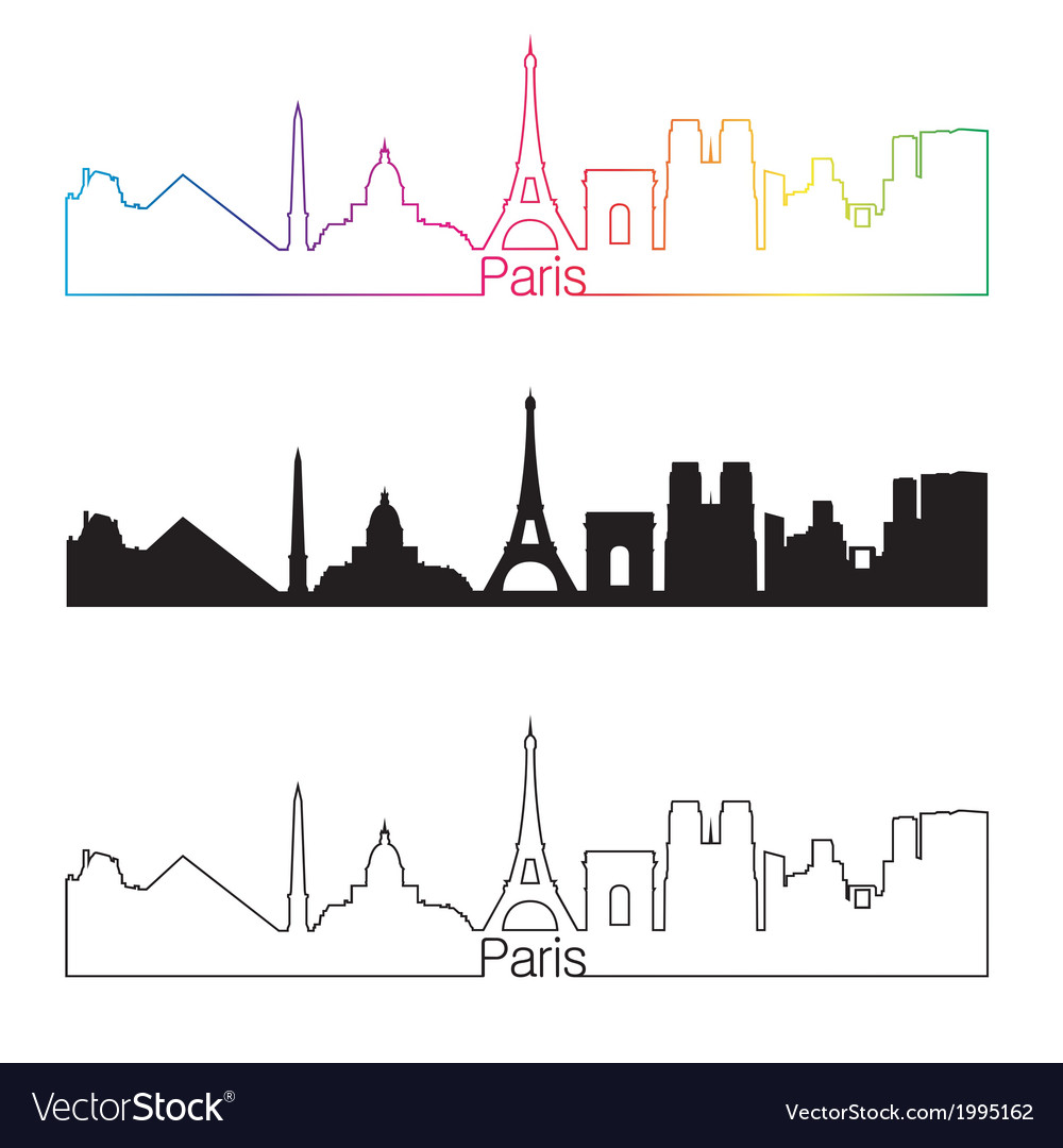 Paris skyline linear style with rainbow vector | Price: 1 Credit (USD $1)