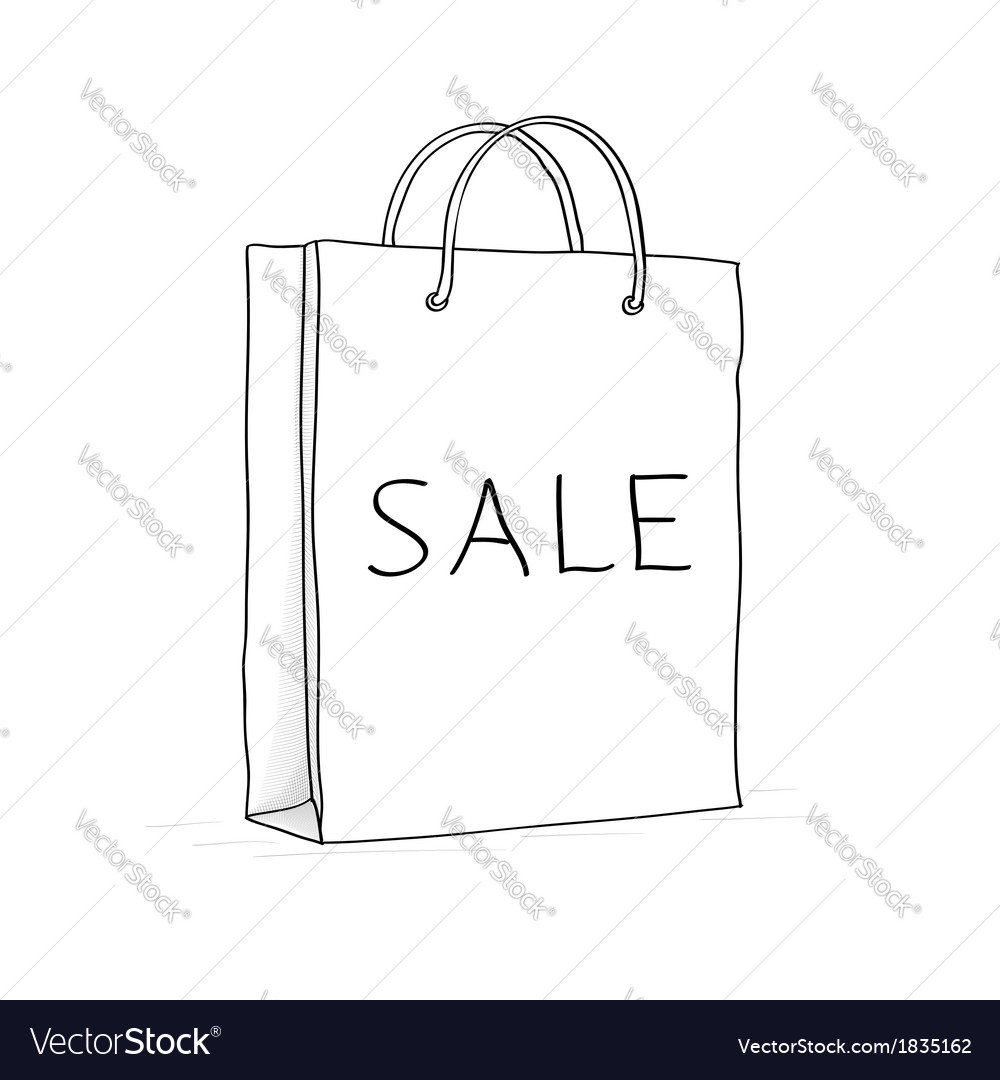 Sale bag icon sketch in doodle style vector | Price: 1 Credit (USD $1)