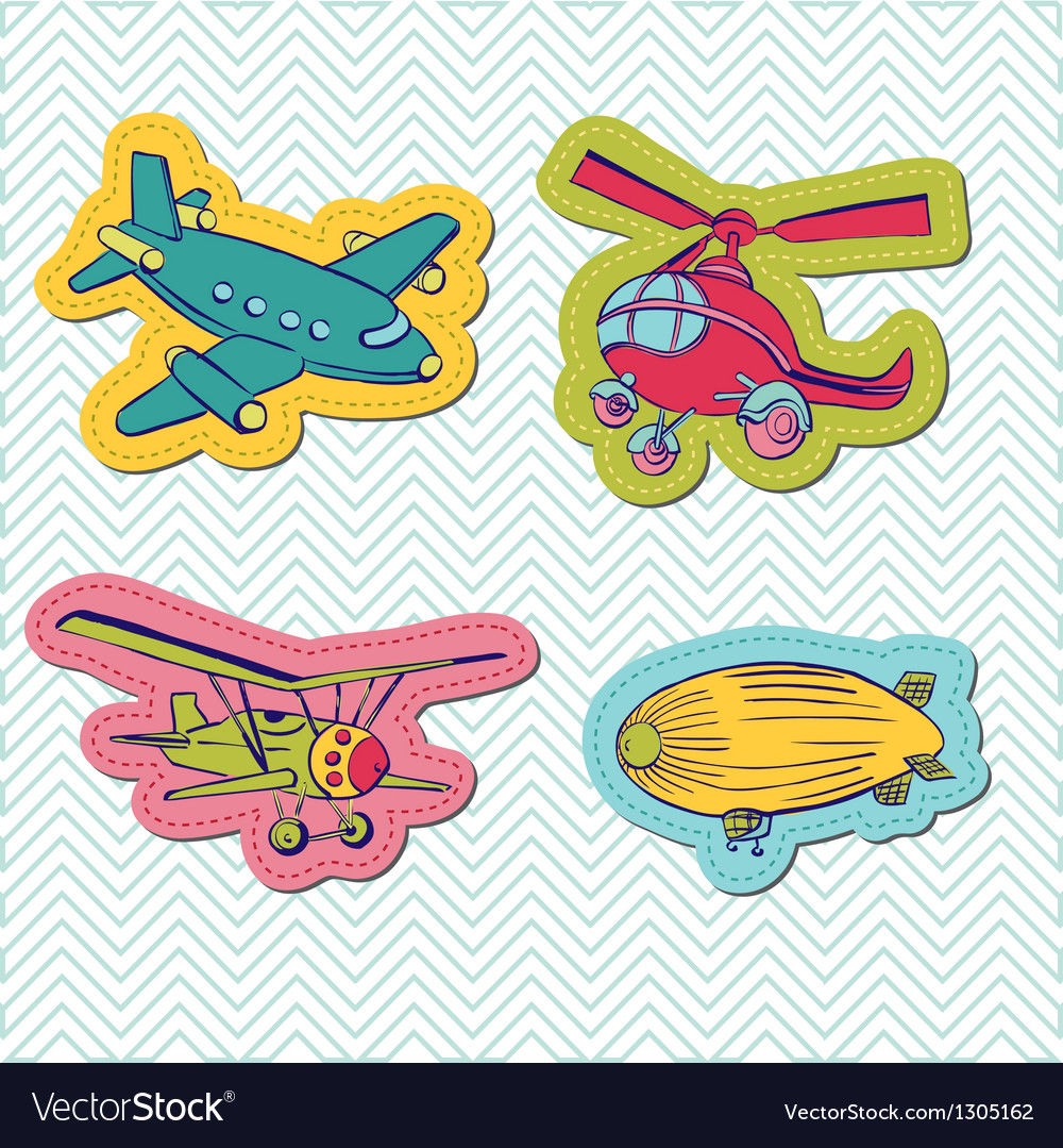 Set of baby boy plane stickers vector | Price: 1 Credit (USD $1)