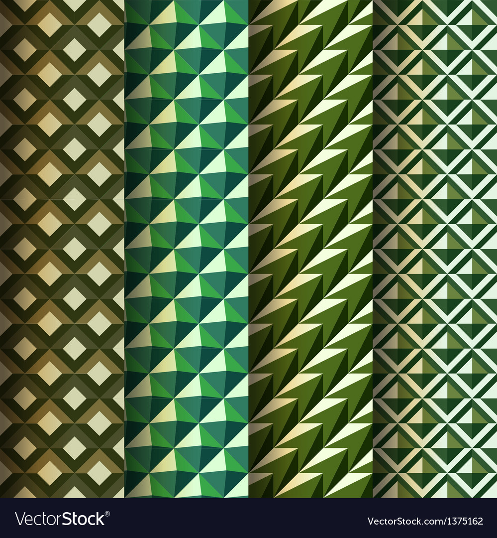 Set seamless geometrical patterns retro style vector | Price: 1 Credit (USD $1)