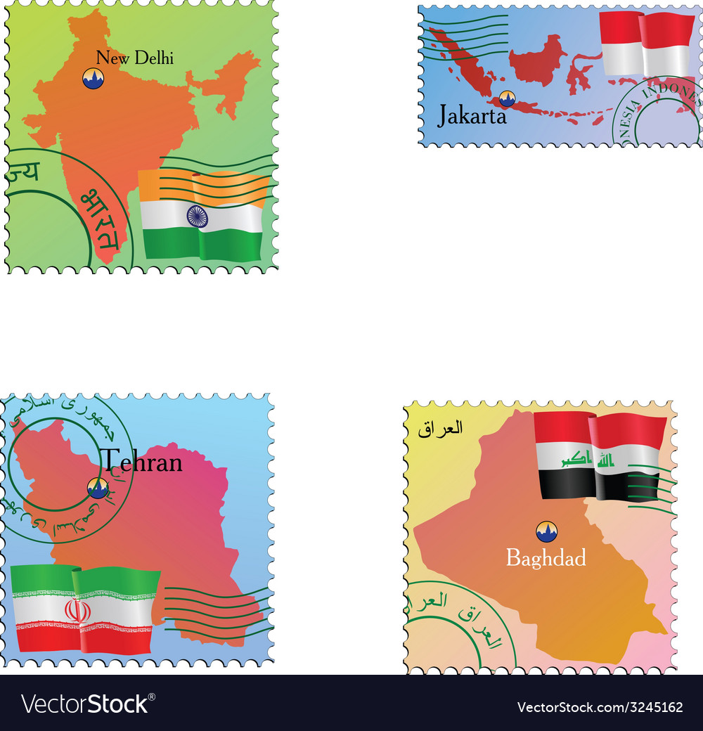 Stamp with an image of map capital india indonesia vector | Price: 1 Credit (USD $1)