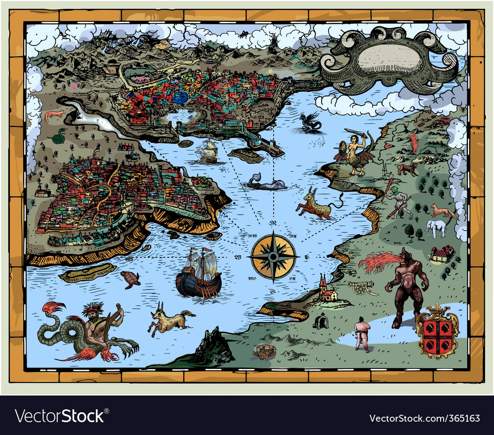 Antique fantasy map vector | Price: 3 Credit (USD $3)