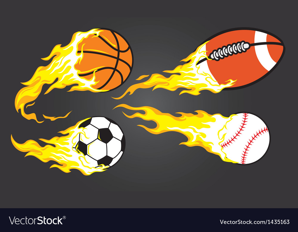 Collection of burning sports ball vector