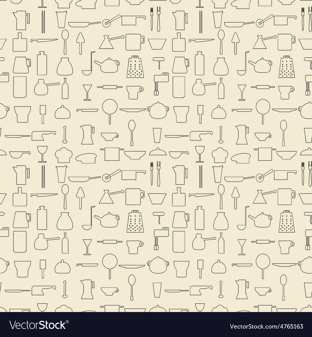 Cooking items linear set seamless texture vector   Price: 1 Credit (USD $1)