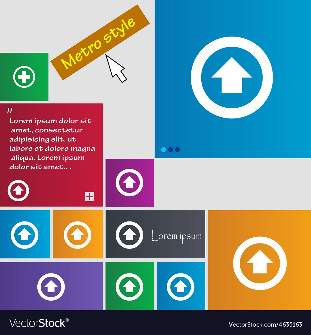 Direction arrow up icon sign metro style buttons vector   Price: 1 Credit (USD $1)
