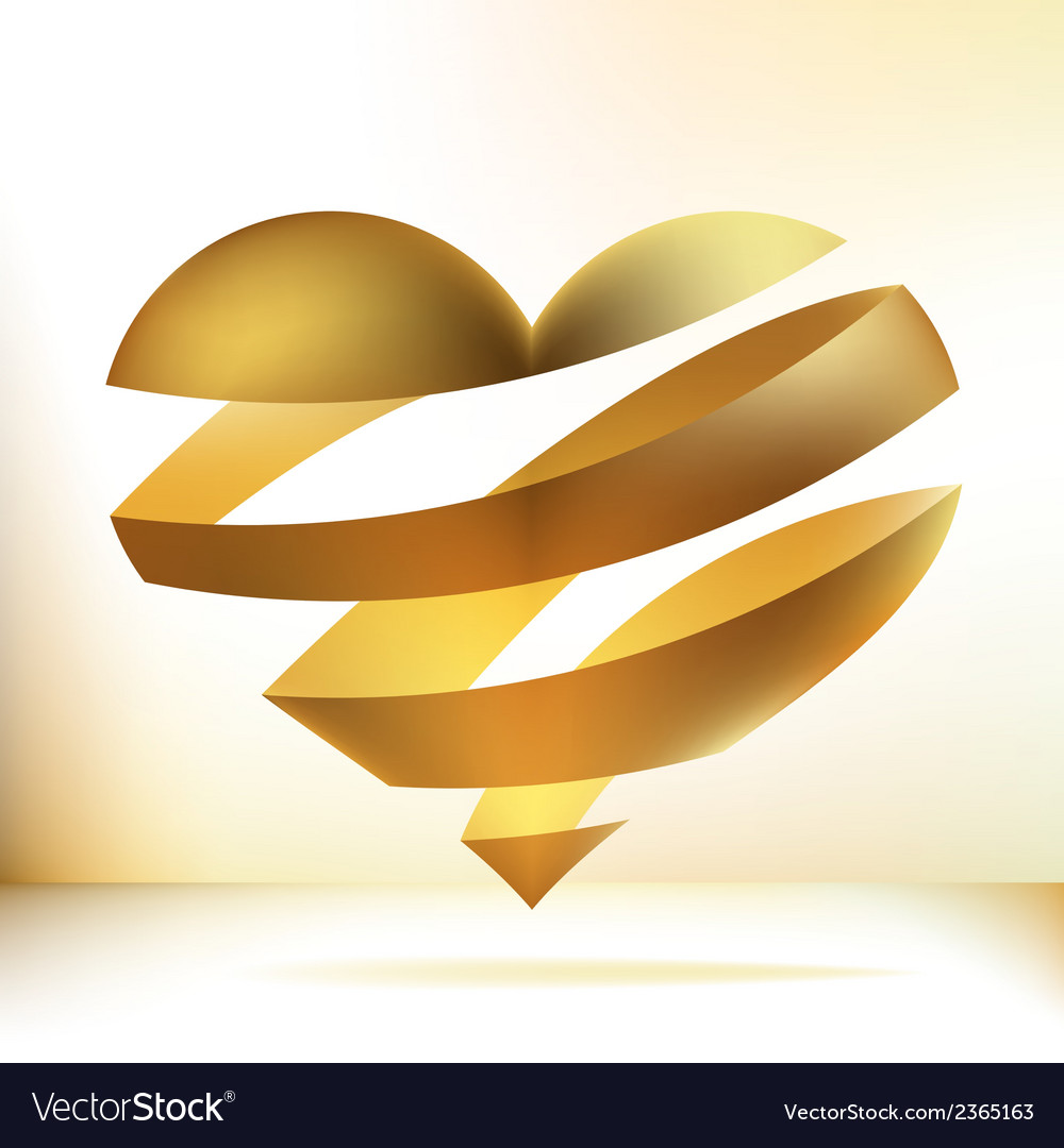 Golden heart on beidge  eps8 vector | Price: 1 Credit (USD $1)