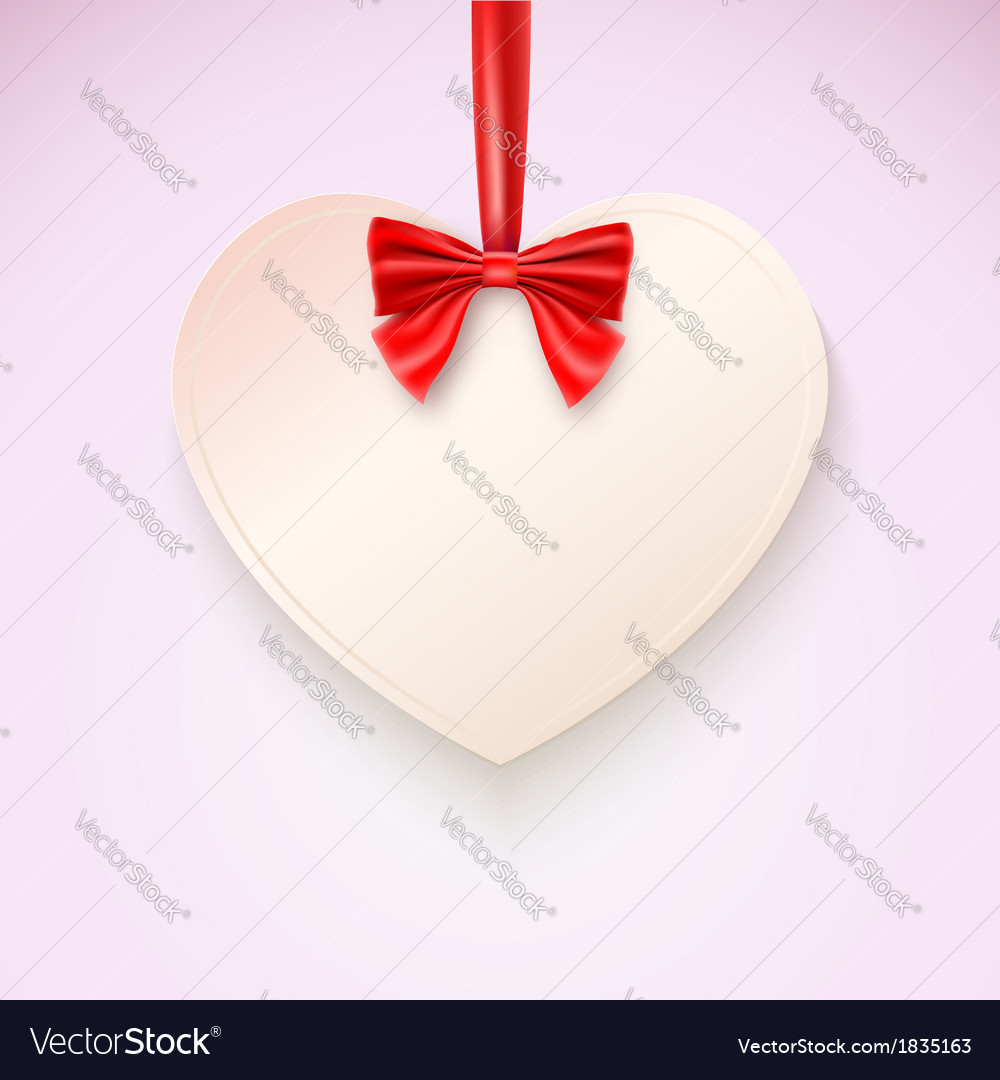 Heart with red bow hanging not tape vector | Price: 1 Credit (USD $1)