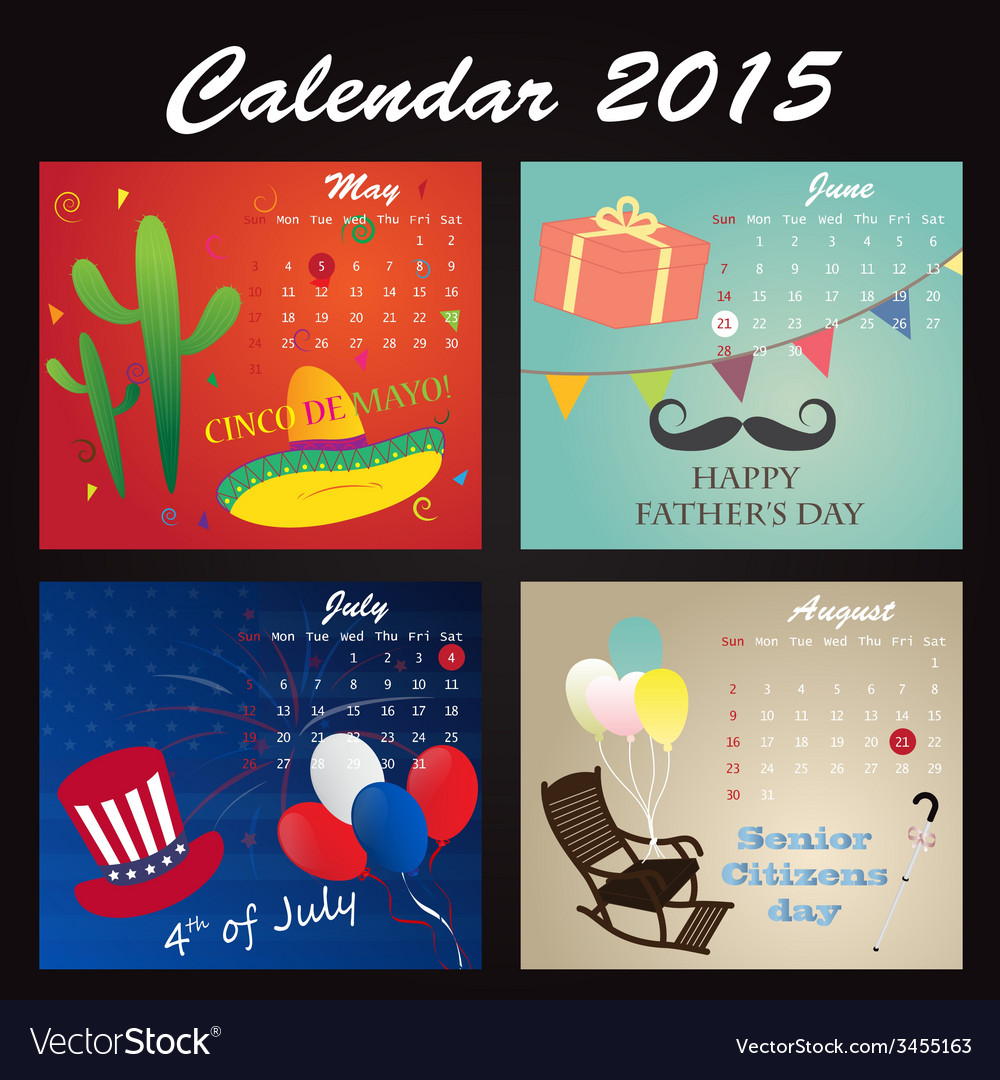 Holiday calendar 2015 of may june july august vector | Price: 1 Credit (USD $1)