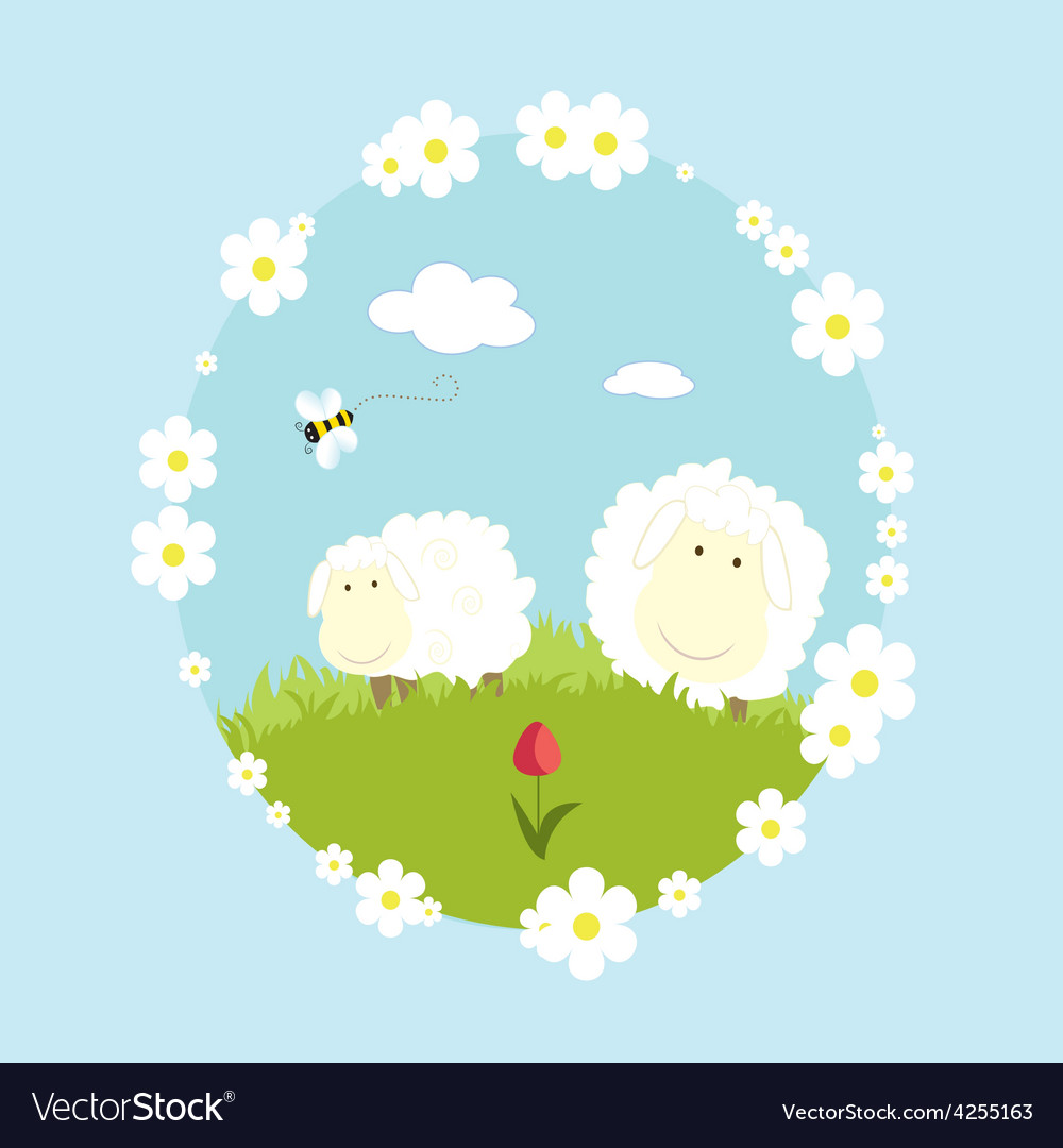 Landscape farm with sheeps and bee cartoon nature vector | Price: 1 Credit (USD $1)