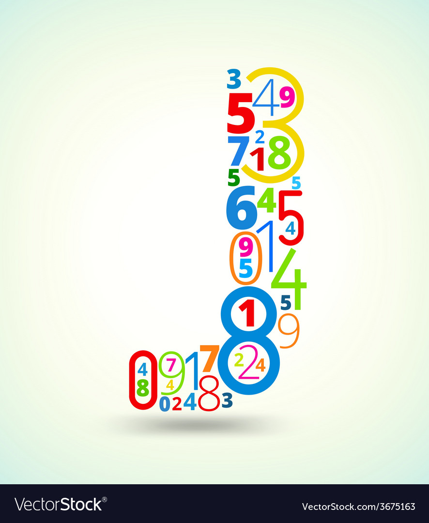 Letter j colored font from numbers vector | Price: 1 Credit (USD $1)