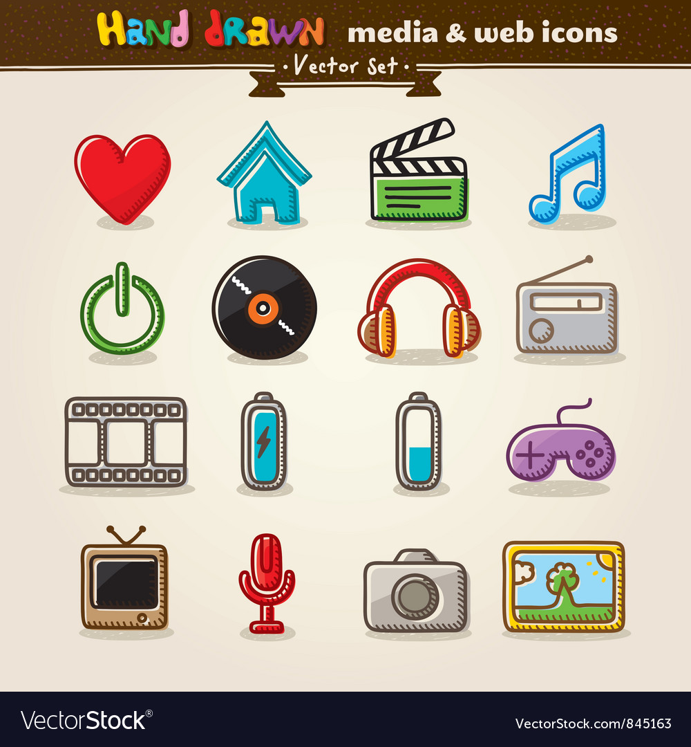 Media entertainment web icons vector | Price: 1 Credit (USD $1)