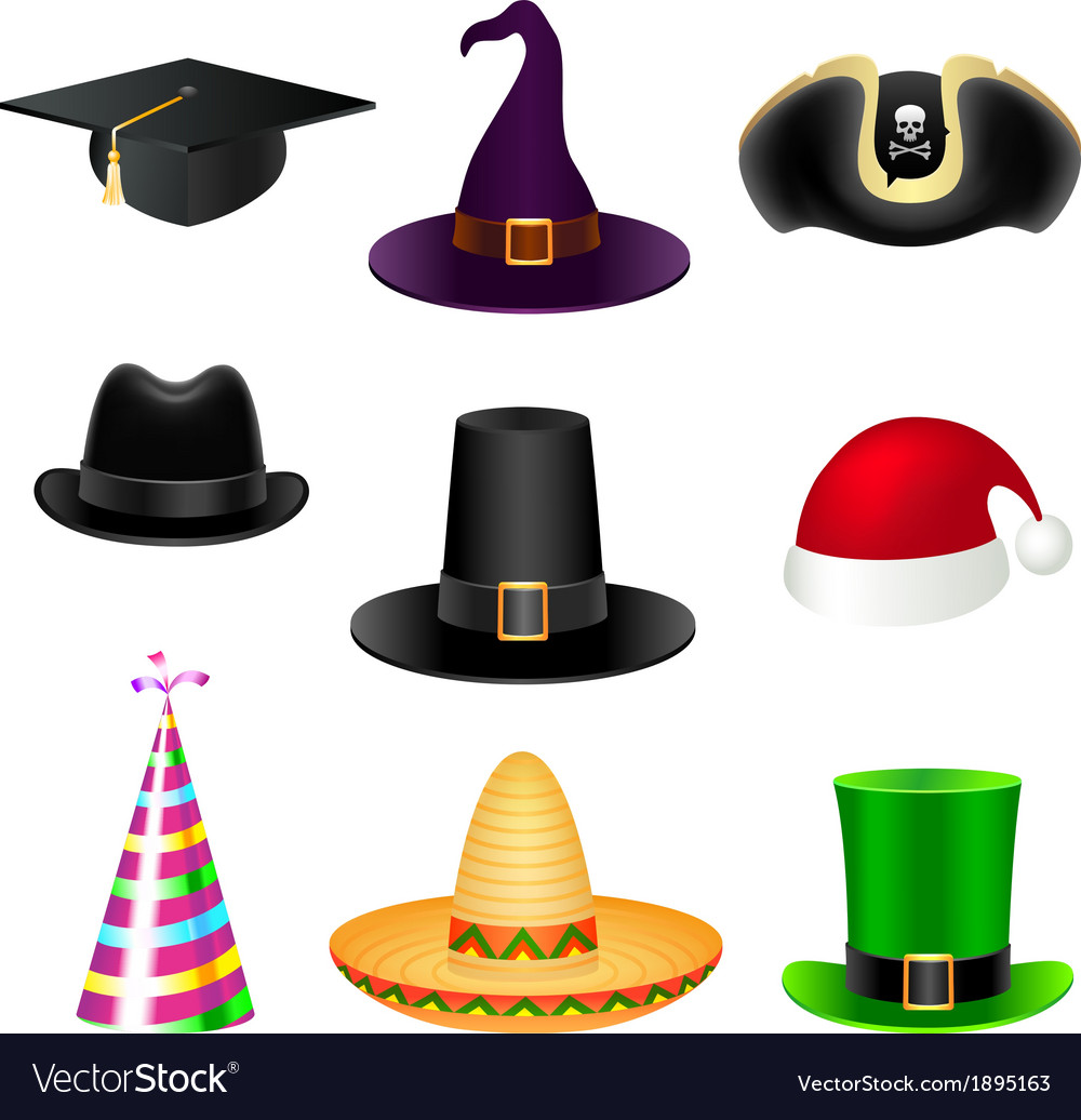 Party hat set vector | Price: 1 Credit (USD $1)