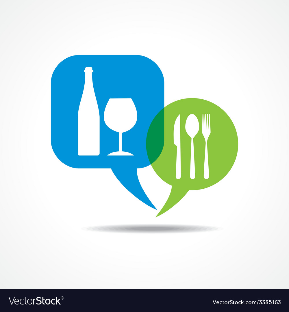 Restaurant forks and wine glass in message bubble vector | Price: 1 Credit (USD $1)